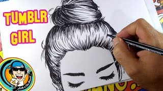 COMO DESENHAR GAROTA TUMBLR / HOW TO DRAW GIRL TUMBLR