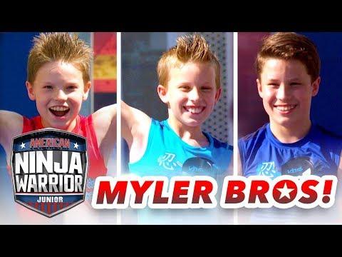 Myler Brothers NINJA COURSE SHOWDOWN (Ninja Kidz TV)   American Ninja Warrior Junior  