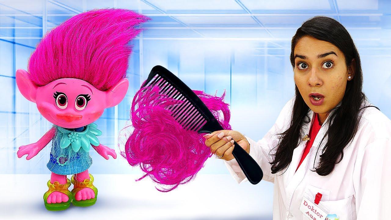 Spielzeug Video für Kinder. Poppy und andere Spielzeuge bei Doktor Aua. Kinder Video auf Deutsch