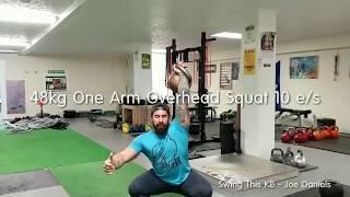 Heavy Kettlebell One Arm Overhead Squat Max Endurance Set 48kg