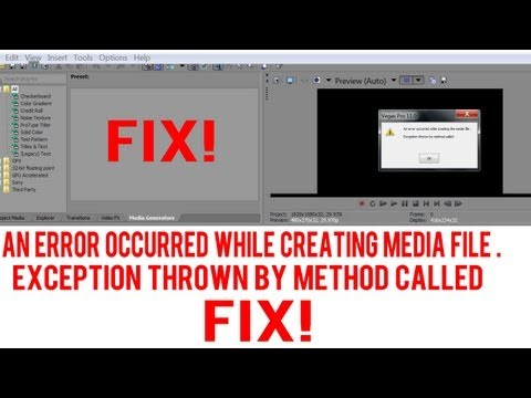 Sony Vegas Pro 11 & 12 - How to Fix - Exception Thrown By Method Called - Error - Tutorial