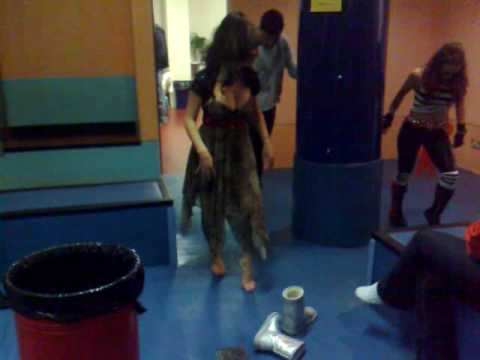Gina McKie doing the moon walk backstage with the Kitty Kat Dolls