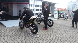 Warming up Moto3 Bikes, nice sound
