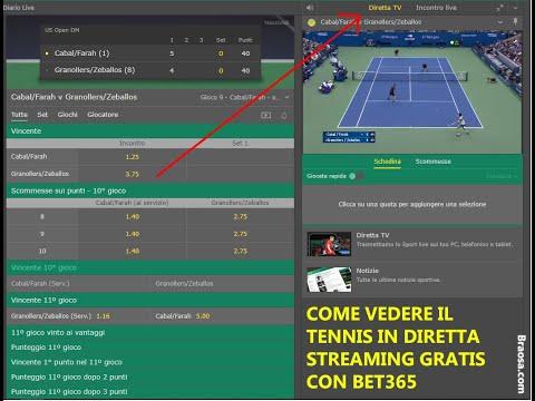 COME VEDERE IL TENNIS IN DIRETTA STREAMING GRATIS CON BET365