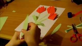 Тюльпаны.Оригами для детей 5-7 лет