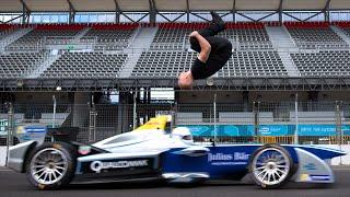بالفيديو: مغامر يتحدى سيارة فورمولا 1 بصورة لا تصدّق