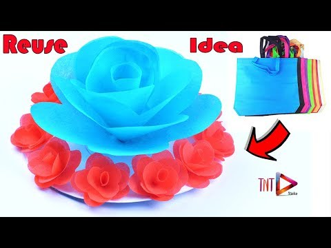 how to make giant rose using shopping carry bags | DIY flower wall hanging | Giant flower wallmate