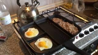 Яичница с гречкой на многофункциональной 5-ти секционной сковороде iQuick