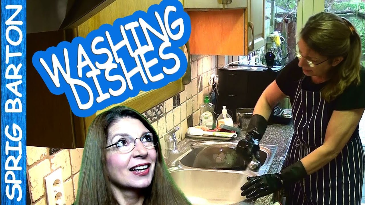 How To Wash Dishes Be Dishwashing Woman Use Rubber Gloves