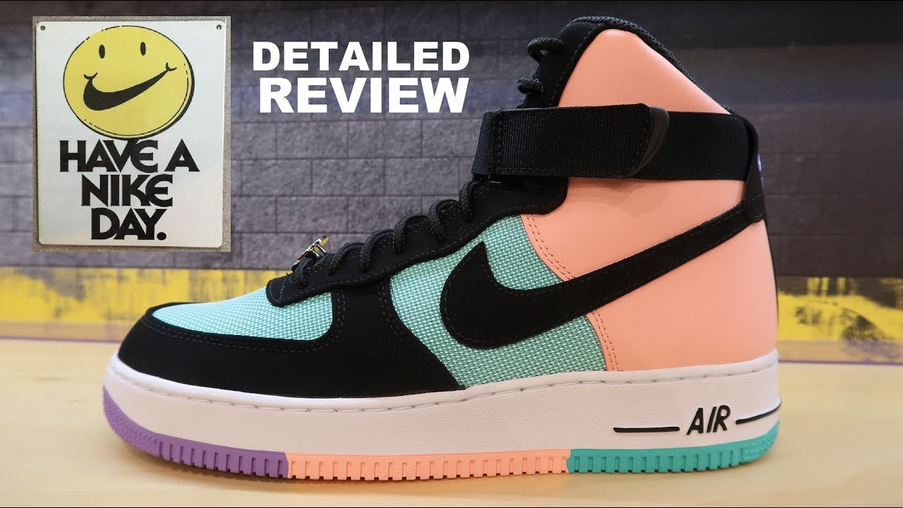 NIKE AIR FORCE 1 HAVE A NIKE DAY HIGH SNEAKER DETAILED LOOK + SIZING REVIEW #HAVEANIKEDAY #SNEAKERS
