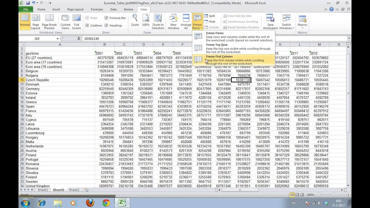 How To Split The Worksheet Window In Excel