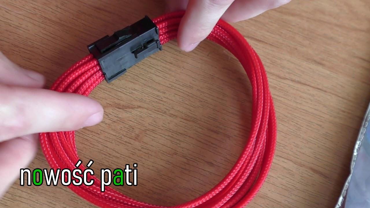 GELID PRZEDŁUŻACZ PRZEDŁUŻKA KABLA EPS 8PIN W OPLOCIE 30CM czerwony unboxing tuning PC cable mode UV