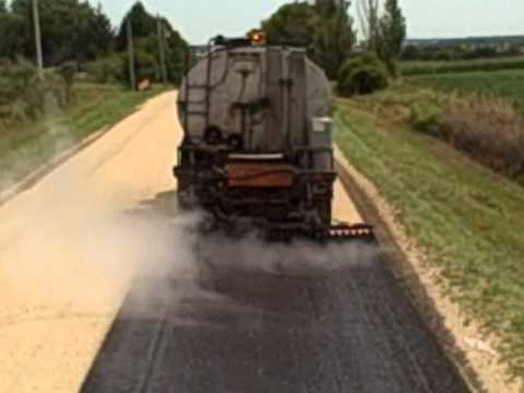 Jim George And Sons Chip Sealing Road Youtube