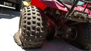 Motorcycle salvage yard full of Honda 3 wheelers