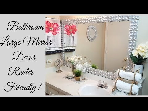 Diy Renter Friendly Large Bathroom Mirror Design!