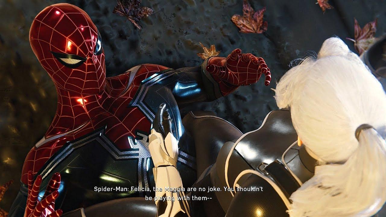 Black Cat pins Spider-Man down