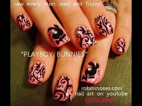 Nail art design diy playboy bunny nails pink and black nail art design diy playboy bunny nails pink and black filigree tutorial prinsesfo Image collections