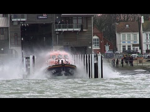 RNLI Shoreham, Tamar Class Lifeboat Launch.