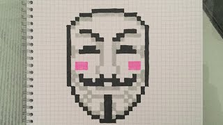 Speed drawing of Anonymous Mask pixel art👽