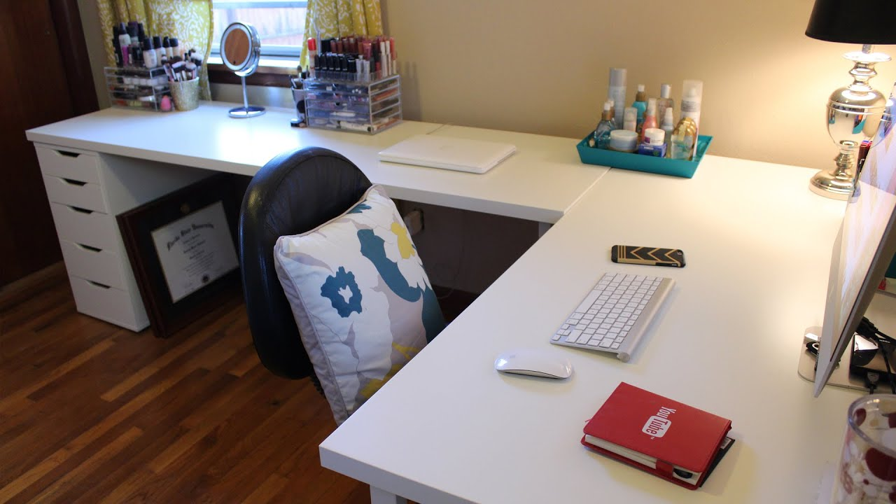 ikea desks office makeover youtube rh youtube com ikea desk chair ikea desk chair