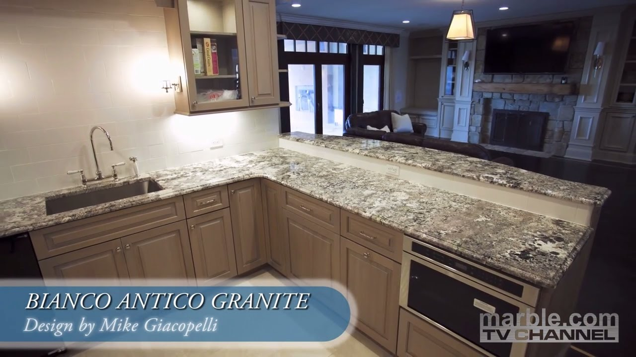 Bianco Antico Granite Kitchen Design | Marble.com - YouTube