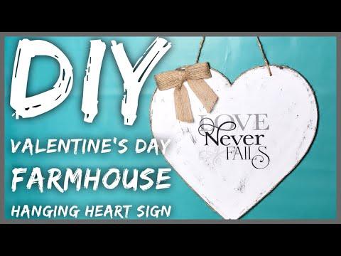 DIY Farmhouse Valentine's Day Wall Hanging Decor - Dollar Tree Wooden Heart Neutral Rustic Decor