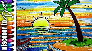 How to draw scenery of Island with water easy and simple | Landscapes Drawings  for kids