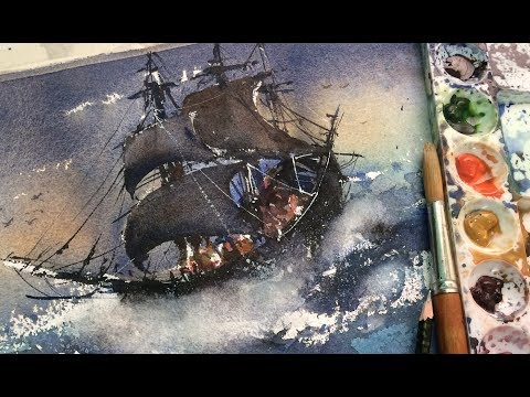 How to paint stormy watercolor ocean painting – pirate ship painting techniques
