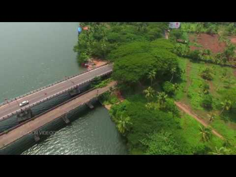 Helicam view of vaikom  , kerala the gods own country .Falcon videography