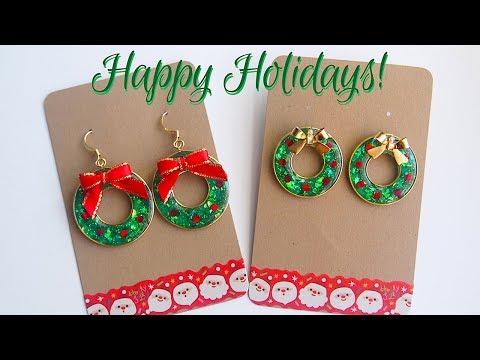 Easy DIY UV Resin Christmas Wreath Earrings