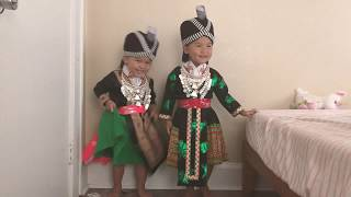 Silly toddlers in Hmong Clothes!