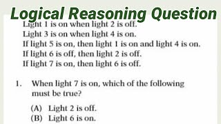 LOGICAL Reasoning: Light 1 is on when light 2 is off. Light 3 is on when light 4 is on.