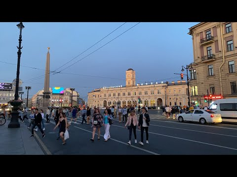 Saturday Night on Nevsky Prospect in St Petersburg, Russia. Live