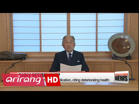 Japan's emperor hints at abdication, citing deteriorating health