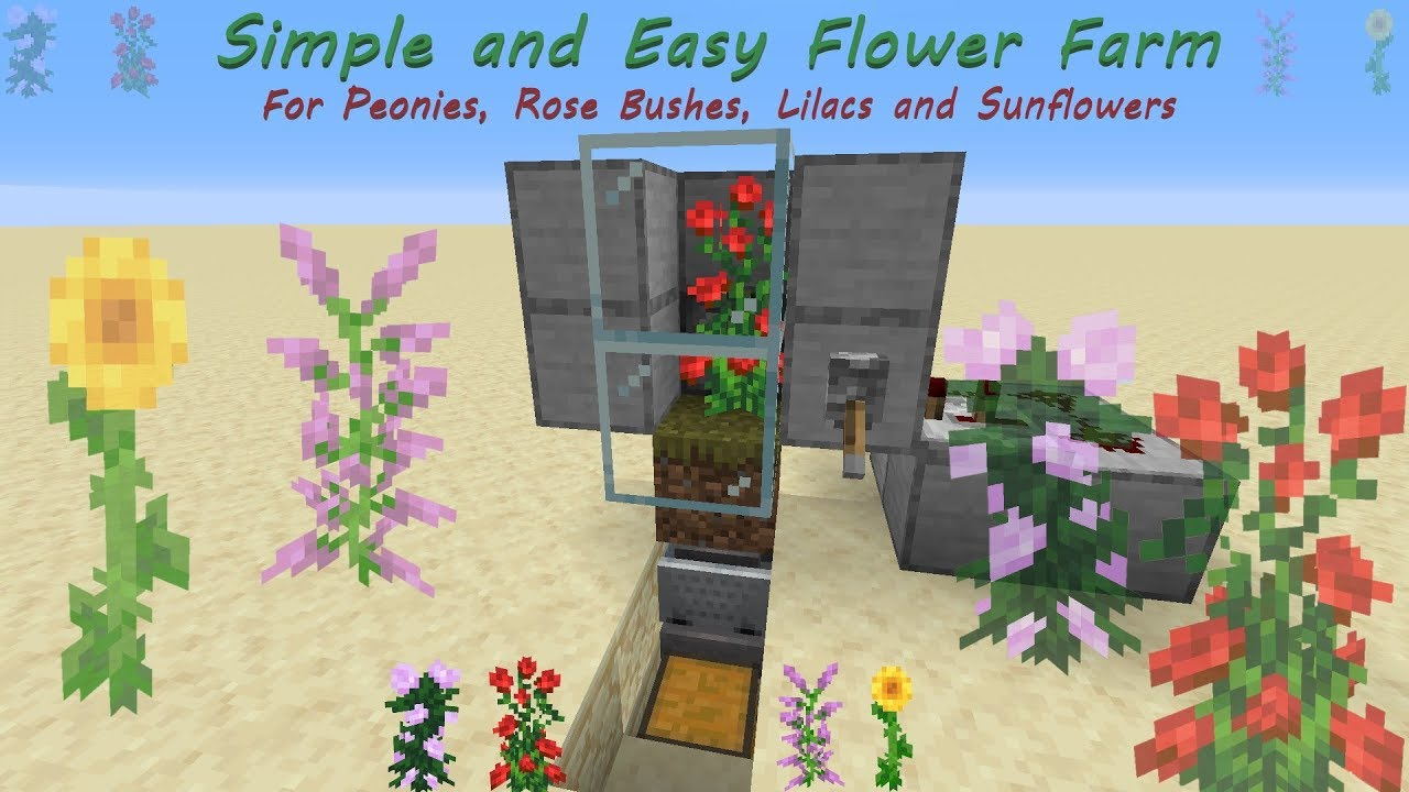 Minecraft Tutorial Simple And Easy Flower Farm Peonies Rose Bushes Lilacs And Sunflowers Youtube