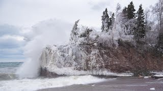 Waves Batter Lake Superior North Shore From Strong April Storm Winds - April 14, 2018