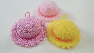 코바늘 수세미/ 왕초보용 모자수세미  Crochet  …