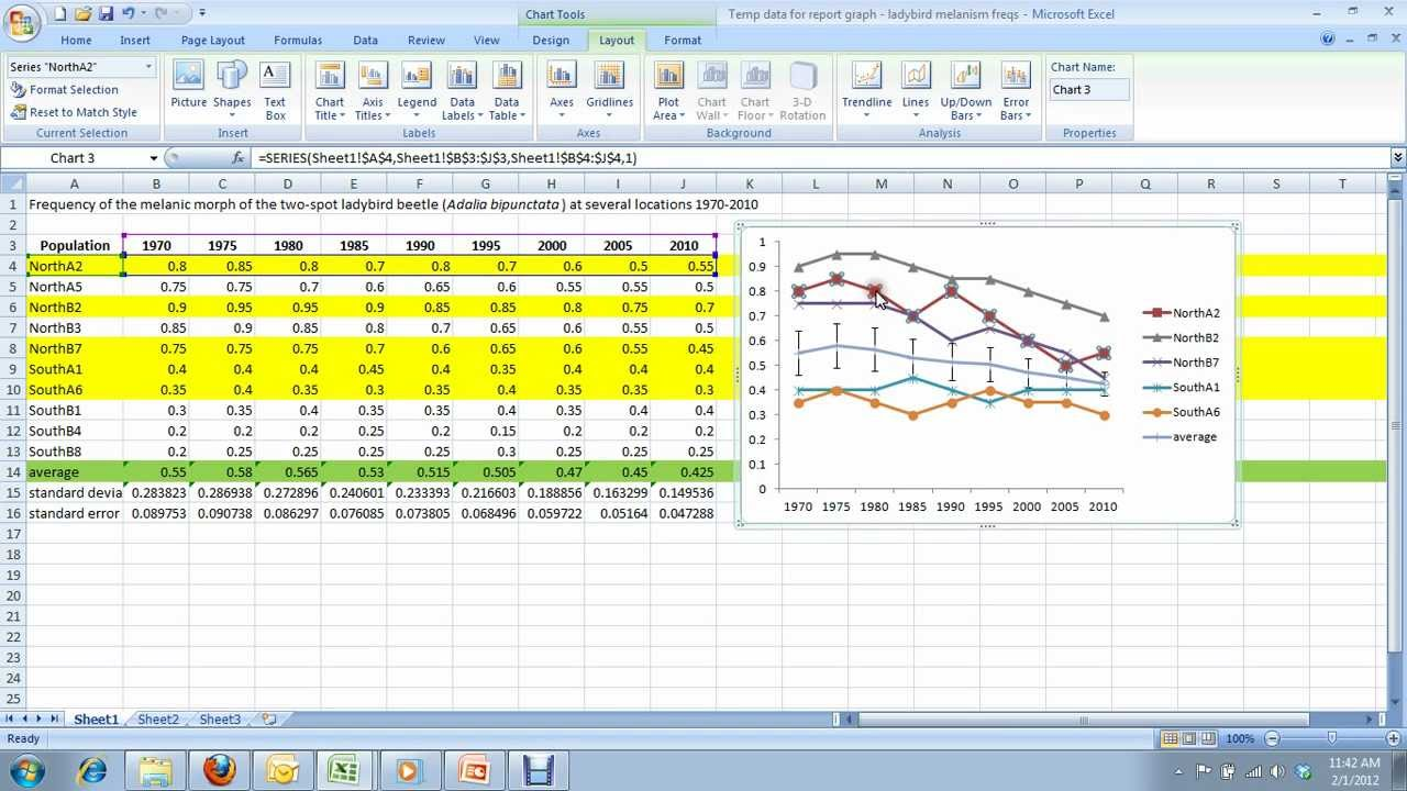 9) How to create a multi-series line graph in Excel - for Carleton ...