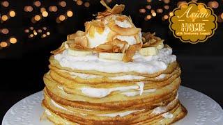 Coconut Crepe Cake With Banana Cream : Banana Coconut Crepes 크레이프 케이크 만들기