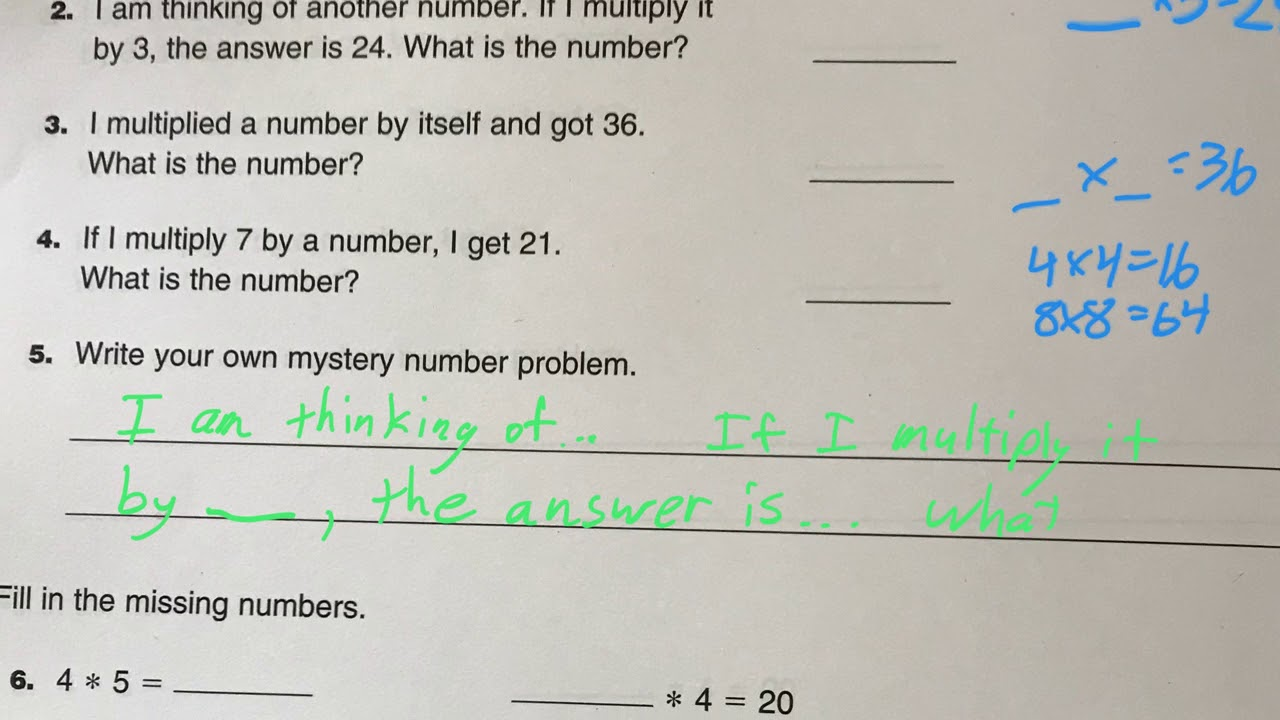 worksheet Mystery Number mystery numbers study link 3 4 youtube 4