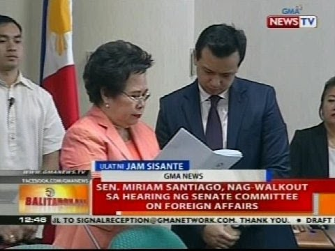 Sen. Miriam Santiago, nag-walkout sa hearing ng Senate committee on foreign affairs