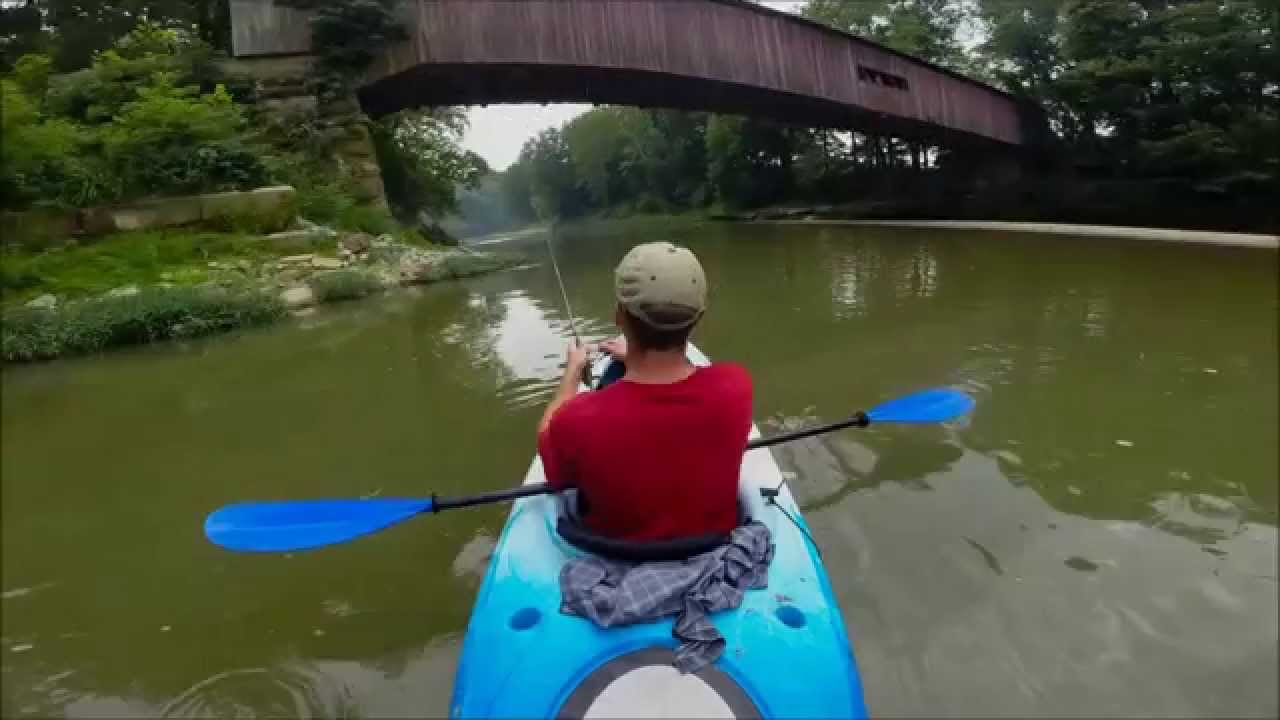 Kayak fishing for smallies at sugar creek indiana youtube for Fishing in indiana