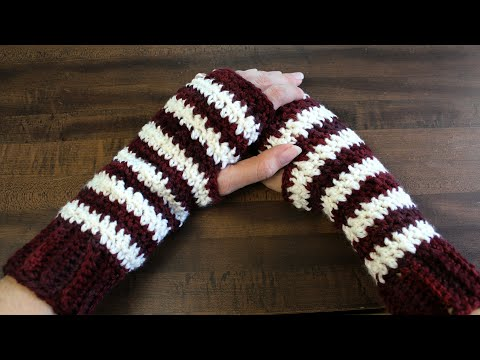 How To Crochet Fingerless Gloves | Two Color Crochet Pattern | The Sweetest Journey