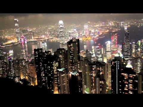 Вид с пика Виктория на Гонконг ночью / Hong Kong Victoria Peak View