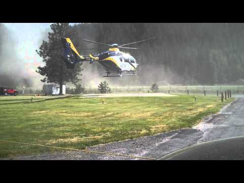 MedStar lands the new EC135 rotary ambulance in Superior, Montana.