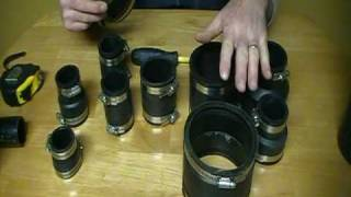 How to join cast iron pipe or copper pipe to plastic pipe using fernco couplings.Plumbing Tips!