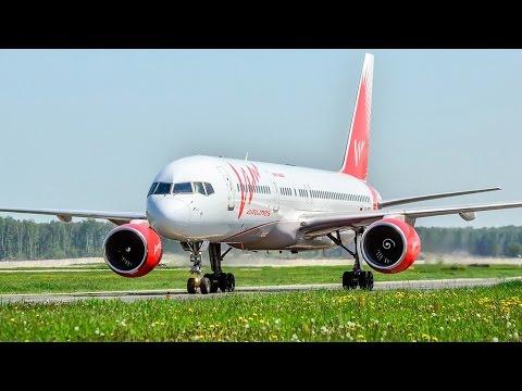 Boeing 757-200 Vim airlines руление и взлет в домодедово с ВПП 14R
