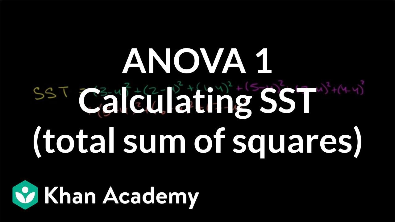 anova 1 calculating sst total sum of squares