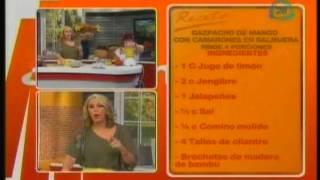Gazpacho De Mango Con Camarones En Salmuera.