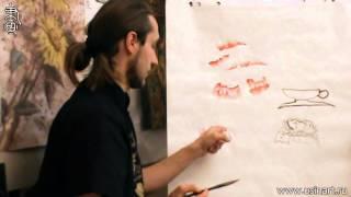 Обучение рисованию Пиона при помощи живописи у-син. Урок 1.